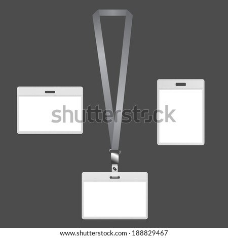 Blank lanyard badges with ID card design on gray background.
