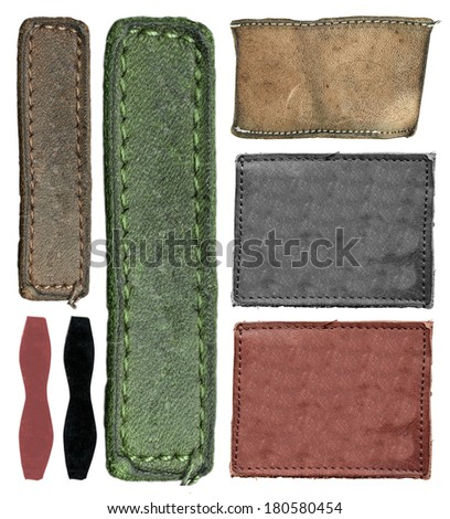 Blank leather jeans label, isolated, set  - stock photo