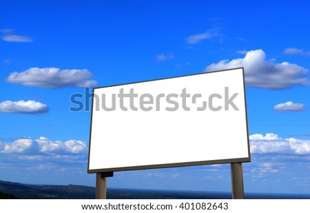 blank led advertising billboard on sky-clouds background.