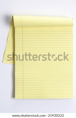 Blank legal pad isolated on white - stock photo