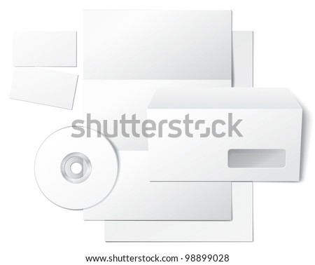 Blank Letter, Envelope, Business Cards and CD. Design Template for Corporate ID Presentation. Isolated on White Background. Rasterized Version