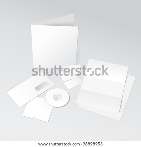 Blank Letter, Envelope, Business Cards, CD and Folder. Design Template for Corporate ID Presentation. Rasterized Version