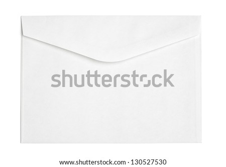 "Blank letter for postal use with traditional ""snail mail"". Isolated on white background."