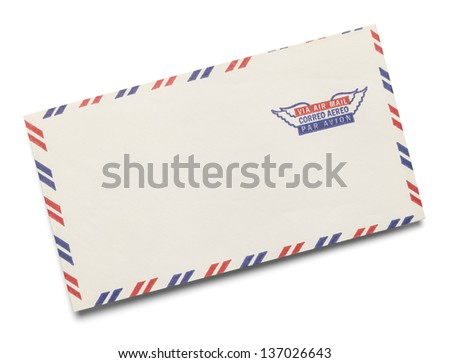 Blank Letter with Via Air Mail stamped on it Isolated on White Background.