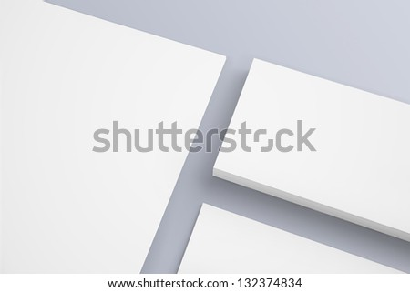 Blank Letterhead and Business card isolated with soft shadows - stock photo