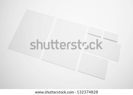 Blank Letterhead Envelopes and Business card isolated on white