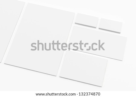 Blank Letterhead Envelopes and Business card isolated on white - stock photo
