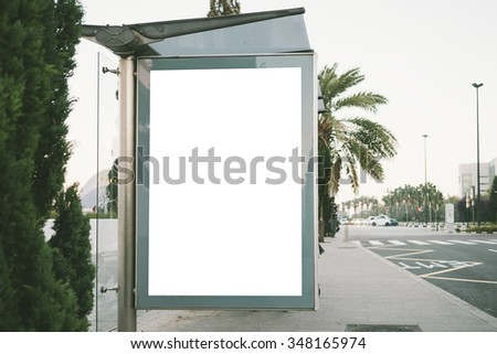 Blank light box on the bus stop