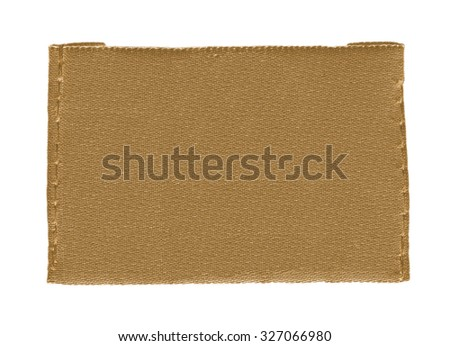 blank light brown fabric label isolated on white