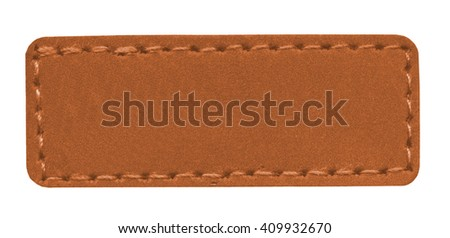 blank light brown leather label isolated on white