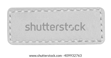 blank light gray leather label isolated on white