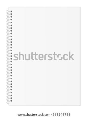 Blank Light Pastel Gray Notebook Paper with Spiral Wire Binding isolated on White Background Illustration