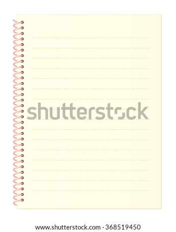 Blank Light Yellow Notebook Paper with Dashed Lines and Spiral Wire Binding isolated on White Background Illustration