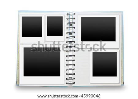 blank lined exercise book and photo frame - stock photo