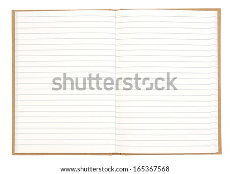 Blank lined exercise book isolated on white background - stock photo