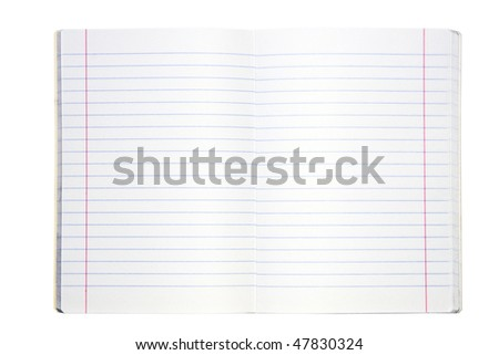 Blank lined exercise book on white