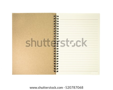 Blank lined notebook open on white background.