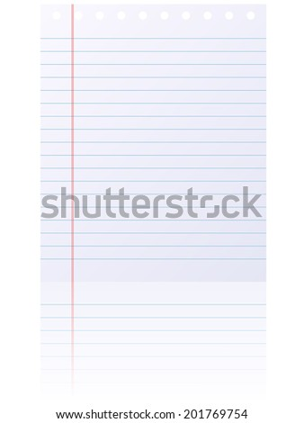 Blank lined notepad page isolated on white background.