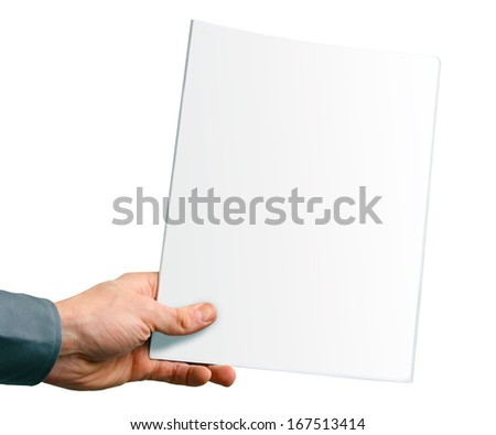blank magazine cover in the hand isolated on white - stock photo
