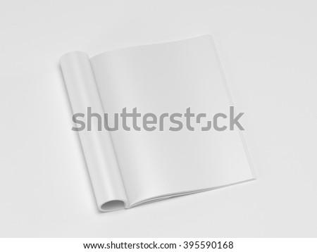 Blank magazine isolated on white background 3d render (mockup design)  - stock photo