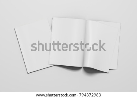 Blank magazine pages with bent glossy paper and blank cover on white background. Open and closed. 3d illustration