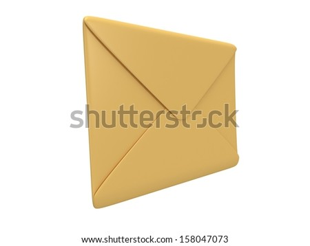 Blank mail envelope over white background. Email concept icon. 3D render
