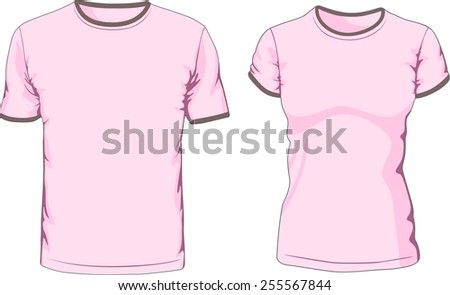 Blank male and female t-shirts. Raster version - stock photo