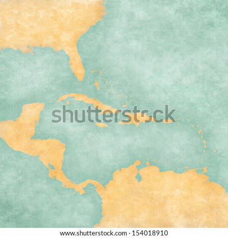 Blank map caribbean central america map stock illustration blank map of caribbean and central america the map is in vintage summer style and sciox Gallery