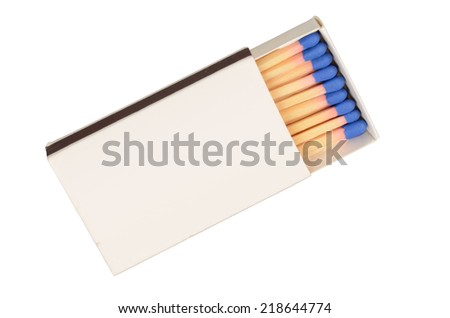 Blank matchbox isolated on a white background - stock photo