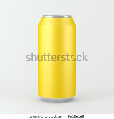 Blank matt yellow aluminum can for beer and other drink, Isolated Mockup. 3d rendering