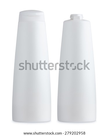 Blank matte plastic white cosmetics bottle, closed and open, with cap and without, isolated on white background - stock photo