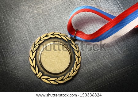 Blank medal on steel scratchy background