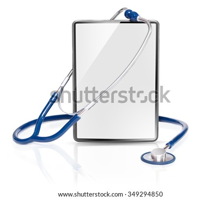 Blank medical tablet isolated on white background - stock photo