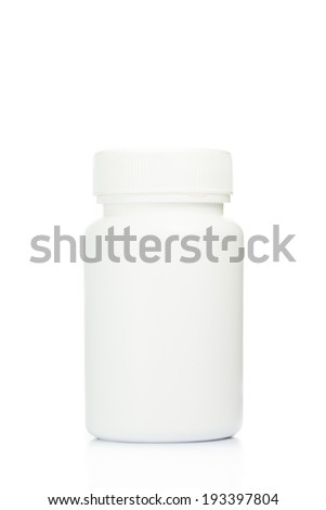 Blank medicine bottle isolated on white background - stock photo