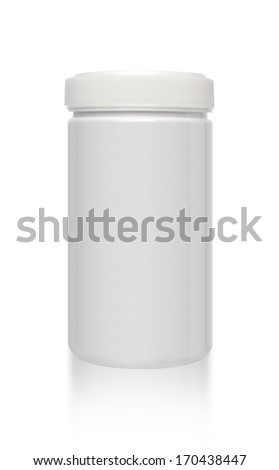 Blank medicine bottle isolated on white background, (clipping work path included).