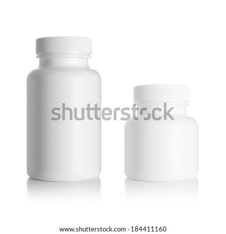 Blank medicine bottle isolated on white background, (clipping work path included). - stock photo