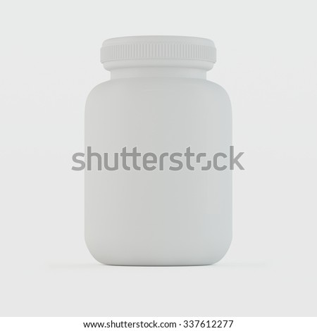 Blank medicine bottle isolated on white background, medical concept.