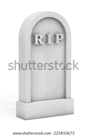 Blank Memorial Gravestone on a white background