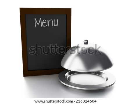 blank menu board and Serving cloche, isolated white background - stock photo