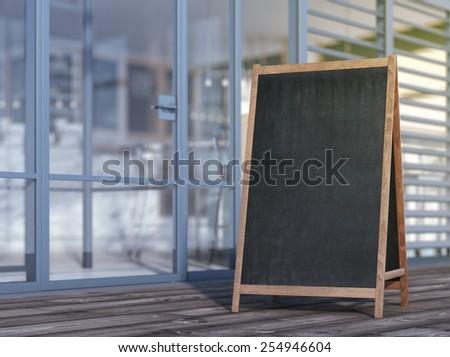 Blank menu board on sidewalk. 3d rendering - stock photo