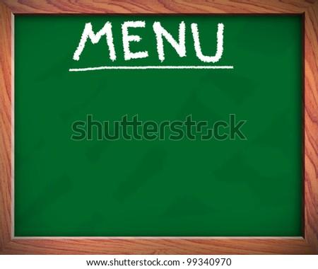 blank menu on blackboard - stock photo