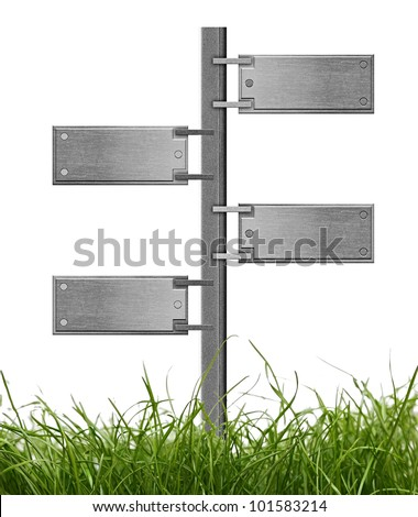blank metal signpost with green grass over white background - stock photo