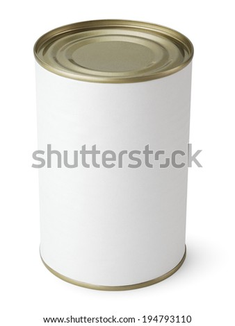 Blank Metal Tin Can isolated on white with clipping path - stock photo