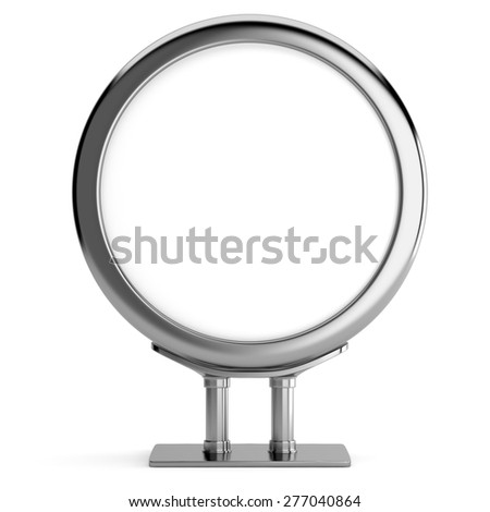 Blank metallic circle billboard isolated on white background. 3d render - stock photo