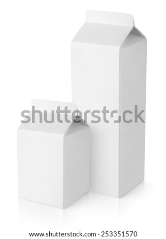 Blank milk carton packages isolated on white background with clipping path - stock photo