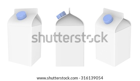 Blank milk, juice or some drink carton package isolated on white background.Packaging collection.Mock Up Template Ready For Your Design.