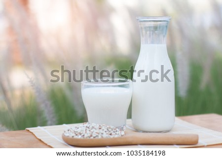 Blank milk on a wooden table. Have a natural background.