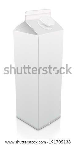 blank milk pack isolated on white - stock photo