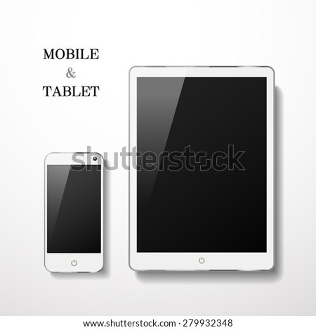blank mobile and tablet set isolated on white background - stock photo