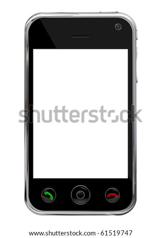 Blank mobile, smart phone isolated on white background with clipping path for the screen - stock photo